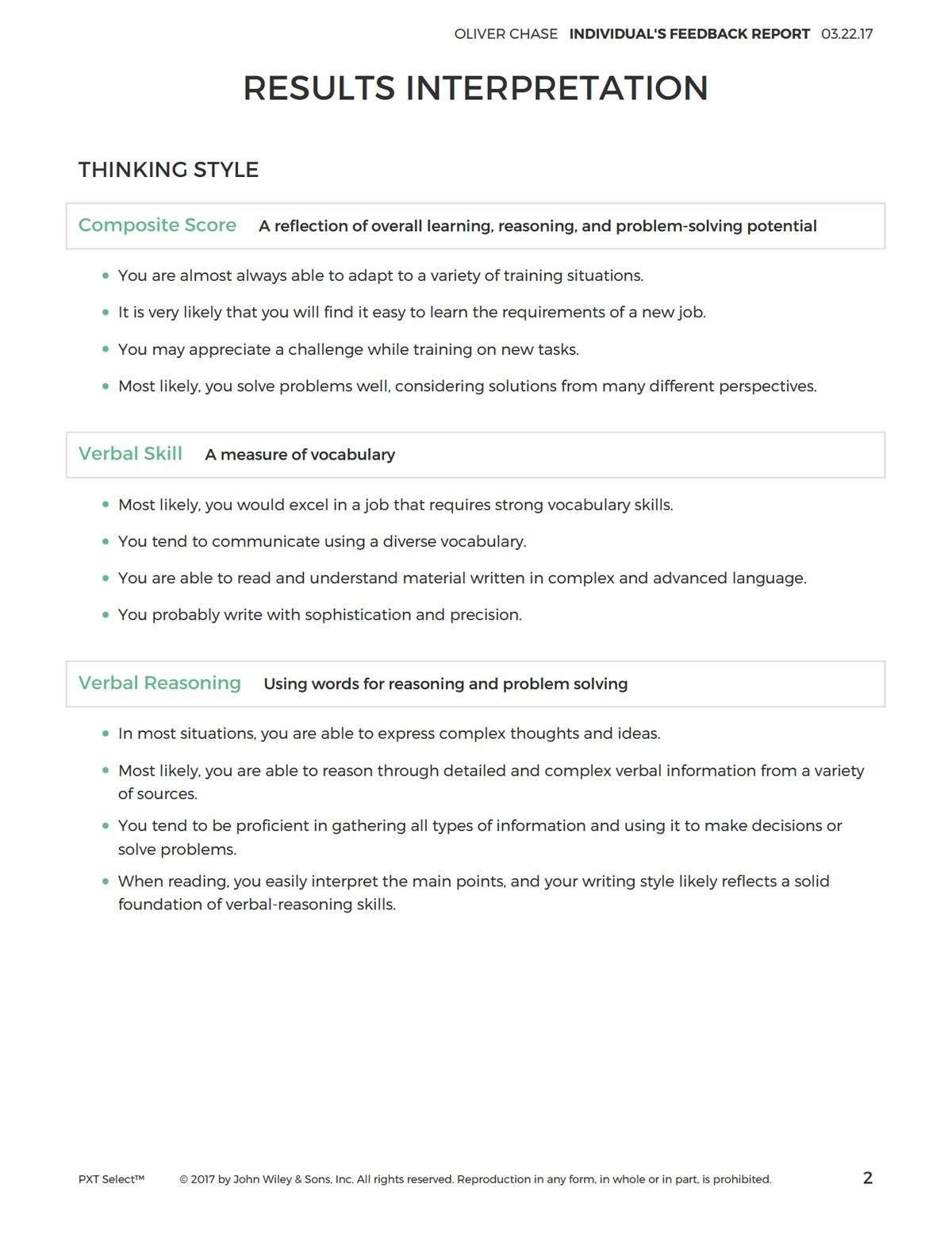 Individual's Feedback Report
